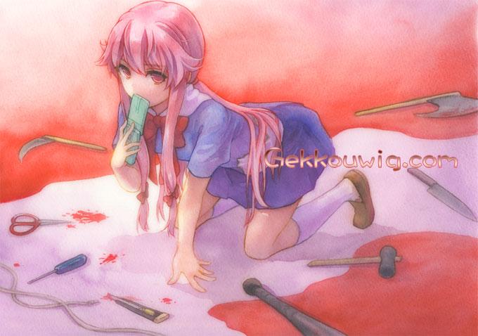 Future Diary Cosplay Gasai Yuno Pink Ponytail Wig